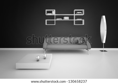 A 3D rendering of modern interior with sofa - stock photo