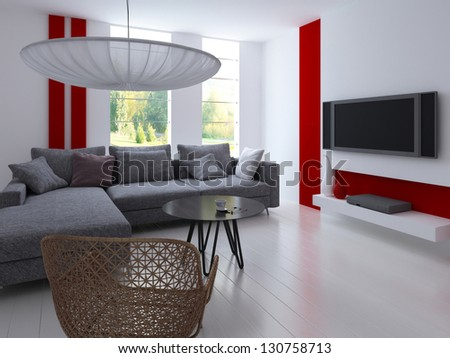 A 3D rendering of modern living room - stock photo
