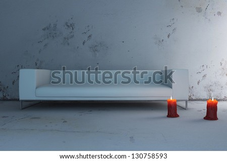 A 3D rendering of modern sofa with candles - stock photo