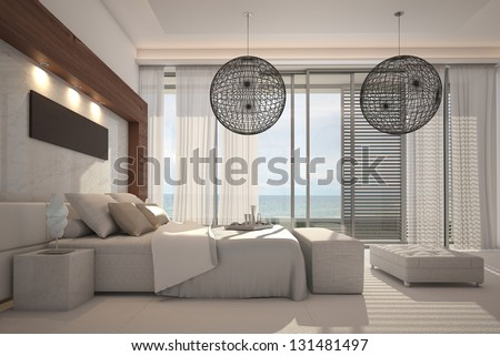 A 3D rendering of white bedroom interior - stock photo