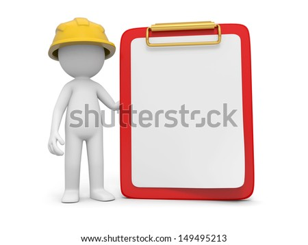 A 3d safety worker standing besides a message board - stock photo