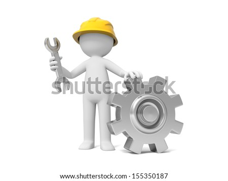 A 3d technician with a wrench and gear - stock photo