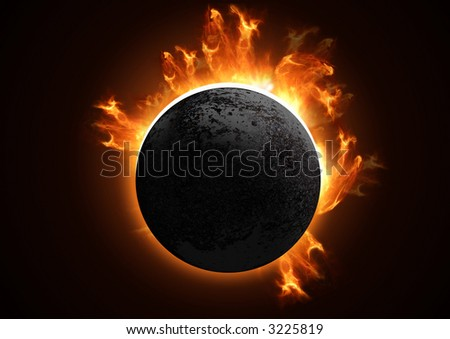 A 3D Total eclipse in detail. - stock photo