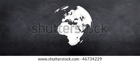 A 3d version of the globe sketched on a blackboard - stock photo