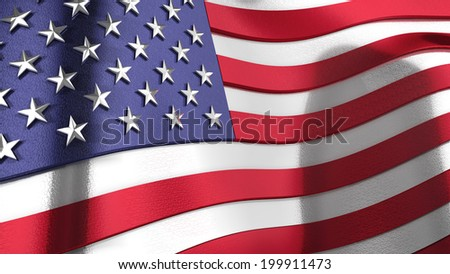 A 3D wavy rendering of the United States of America flag with chrome reflections - stock photo