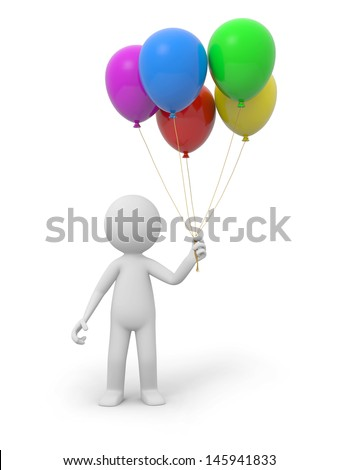 A 3d white person holding five  balloons - stock photo