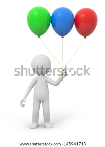 A 3d white person holding three balloons - stock photo