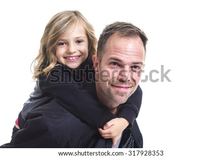 A Dad with is little daughter, isolated on white - stock photo