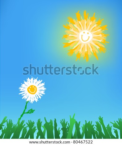 A daisy reaching to the sun, composition made of hand gestures JPEG - stock photo