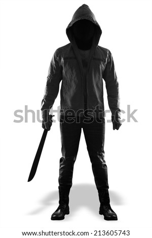 A dangerous man holding knife standing isolated on white background with clipping path  - stock photo