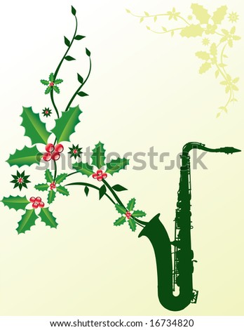 A dark green sax with Christmas holly coming out of it - stock photo