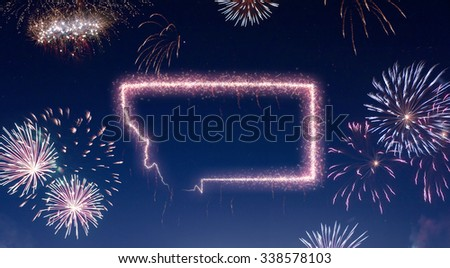 A dark night sky with a sparkling red firecracker in the shape of Montana composed into.(series) - stock photo