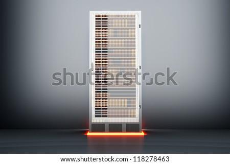 A dark server room. 3D rendered Illustration. - stock photo