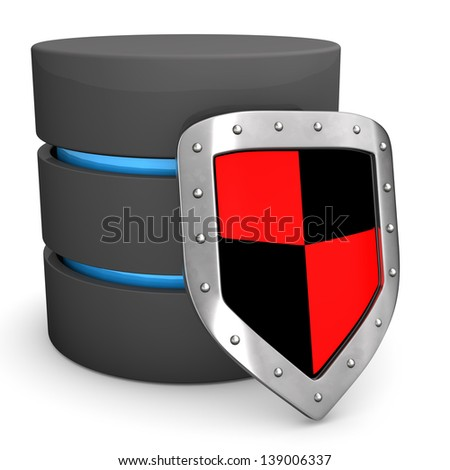 A database with protection shield on the white background. - stock photo