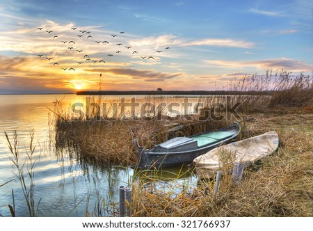 a day of colors in the lake - stock photo