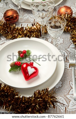 a decorated christmas table - stock photo
