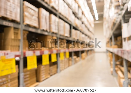 A defocused Background of furniture store warehouse - stock photo