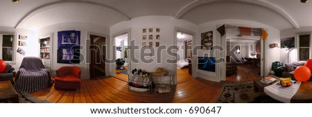A 360 degree seamlessly stitchable panorama of the interior of student or young professional modern home. - stock photo