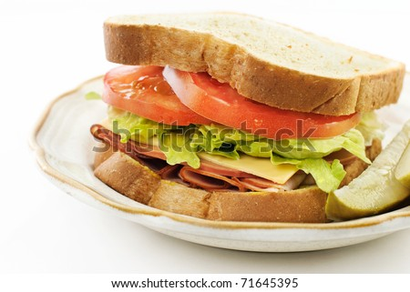 A delicious ham, bologna and cheese, sandwich on wheat bread, closeup with white copy space - stock photo