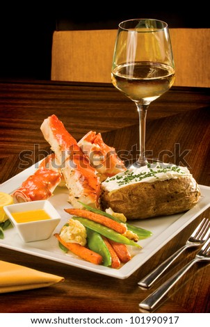 A delicious King Crab dinner - stock photo