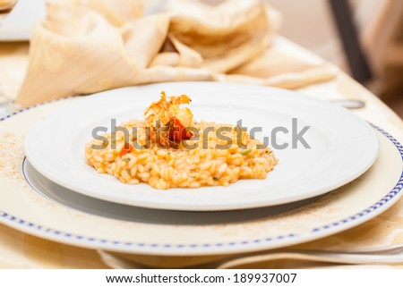 a delicious risotto  served in a white plate - stock photo