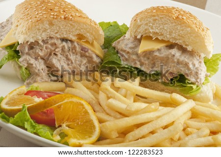 Tuna fish salad sandwich Stock Photos, Illustrations, and Vector Art