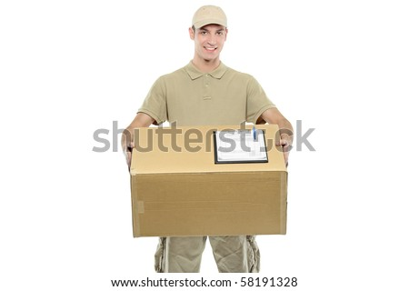 A delivery boy carrying a box isolated on white background - stock photo