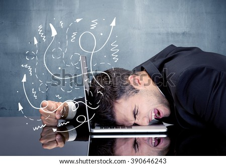 A depressed businessman resting his head on a keyboard and shouting with illustration of ideas, arrows, lines leaving his head concept - stock photo