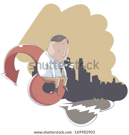 A depressed many sitting on a giant arrow. - stock photo