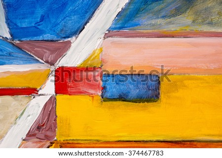 A detail from an abstract painting; Rough-Edged Contrasting Blocks of Colour - stock photo