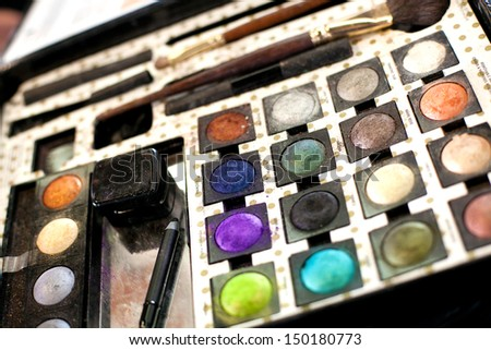 A detail of a make up set. - stock photo