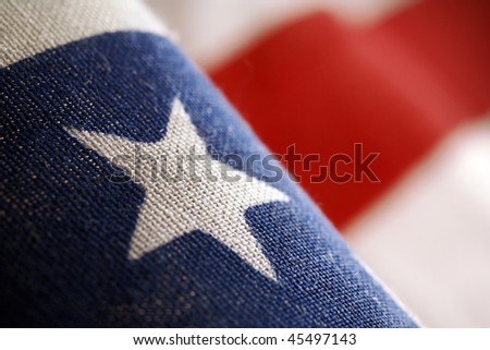 a detail of american flag - stars and stripes (shallow depth of field) - stock photo