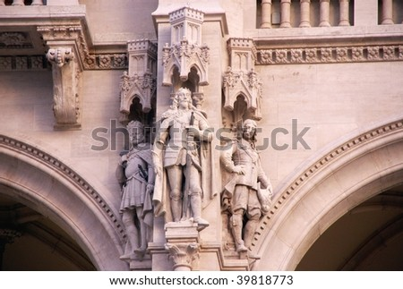 A detail of the building of the Hungarian parliament in Budapest - stock photo