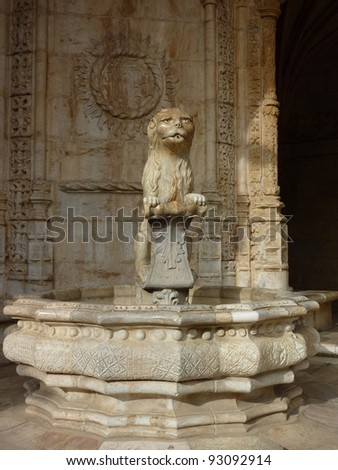 A detail of the courtyard of the Hieronymus monastery in Belem a district of Lisbon in Portugal - stock photo