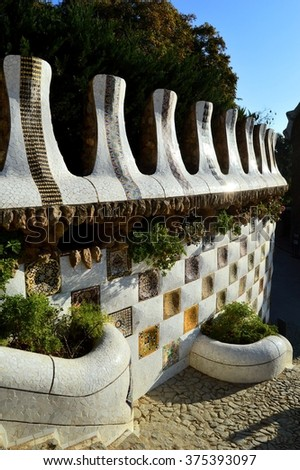 A detail of the Gaudi work at park Guell in Barcelona. - stock photo