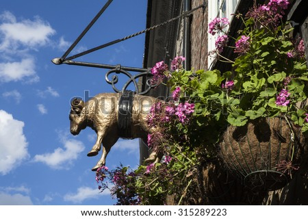 A detail of the Golden Fleece public house in York, England.  The Golden Fleece is said to be the most haunted pub in York. - stock photo