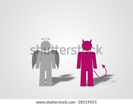 A devil and an angel standing. - stock photo