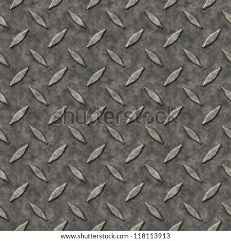 A diamond plate bumped metal texture that tiles seamlessly as a pattern in any direction. - stock photo
