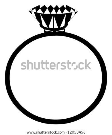 A diamond ring - isolated illustration - stock photo