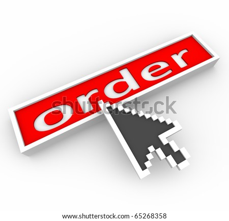 A digital arrow hovers over a red button marked Order and is about to press it - stock photo