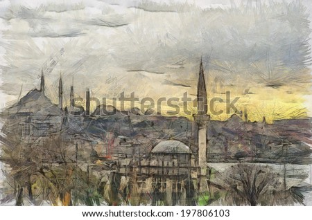 A digital drawing of the Istanbul skyline in Turkey. - stock photo