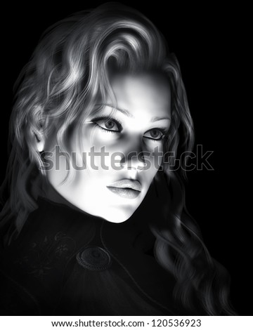 A digital illustration of a beautiful young woman in black and white and dynamic lighting - stock photo