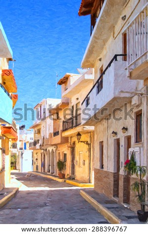 A digital painting of a street scene from the Greek town of Lerapetra on the island of Crete. - stock photo