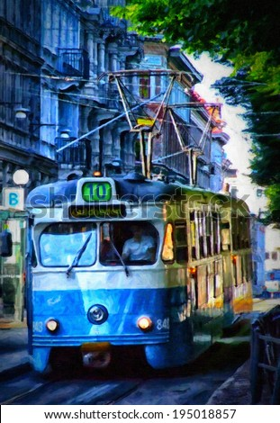 A digital painting of a typical tram car in the swedish city of Gothenburg - stock photo
