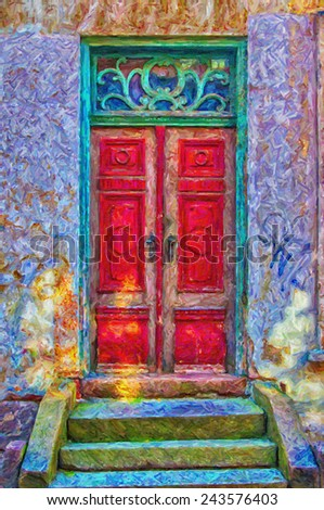 A digital painting of an old red door in a green doorway both of which have seen better days. - stock photo
