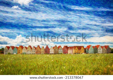 A digital painting of Jakriborg, a new classical housing project built in the municipality of Staffanstorp in the Skane region of southern Sweden. - stock photo