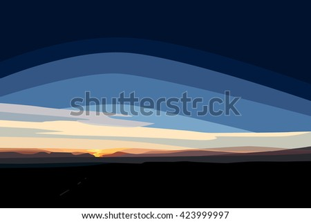 A digital painting of sunrise of Scammonden Reservoir, West Yorkshire, England, UK - stock photo