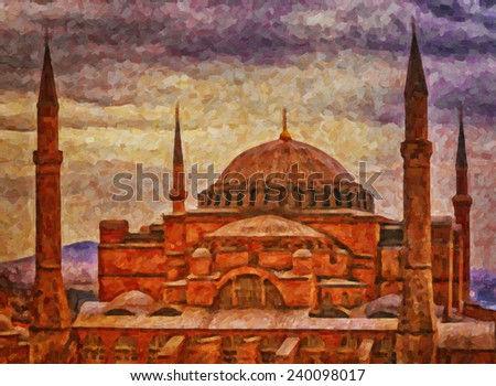 A digital painting of the impressive hagia sophia mosque situated in the turkish city of istanbul. - stock photo