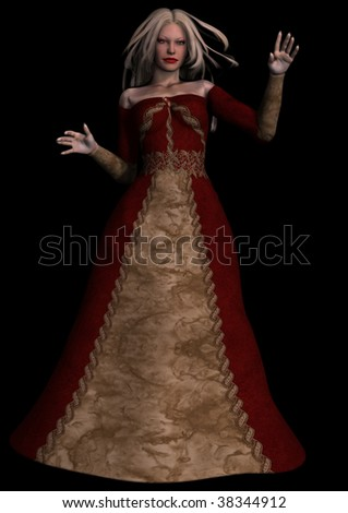 A digital render of a beautiful woman standing with her arms up.  She has blond hair and is wearing an old fashioned gown. - stock photo