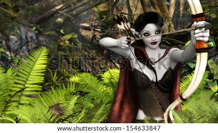 A digital render of a female elf with bow and arrow in the woods. - stock photo